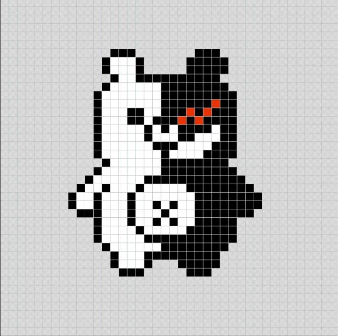 Monokuma Danganronpa Anime Pixel Art Patterns Pixel Art Grid Anime Pixel Art Pixel Art Characters
