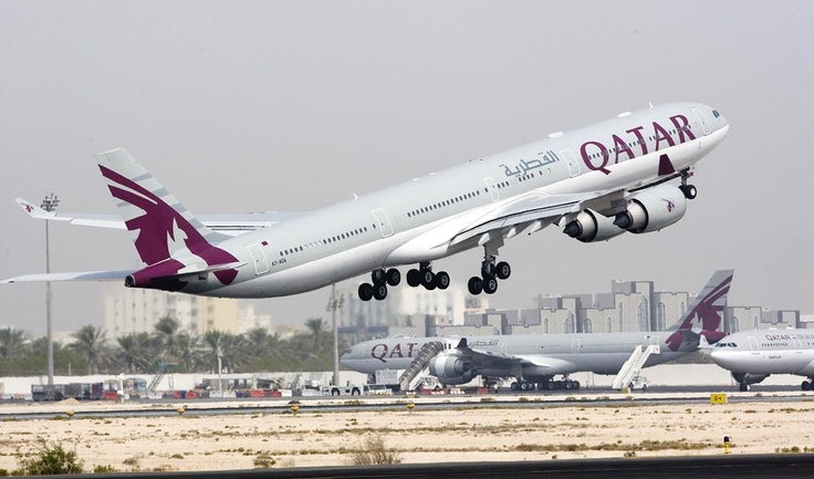 Qatar Airways A340-600 departing Doha International Airport