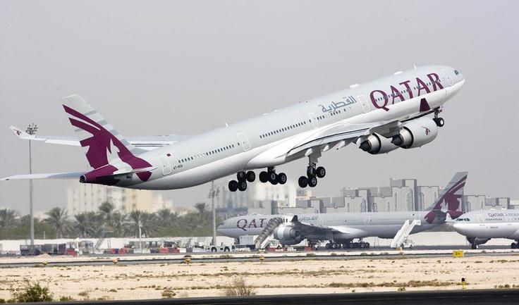 Qatar Airways A340-600 departing Doha International Airport