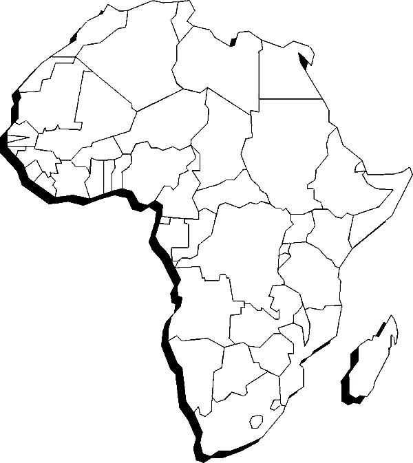africa coloring map sketch coloring page