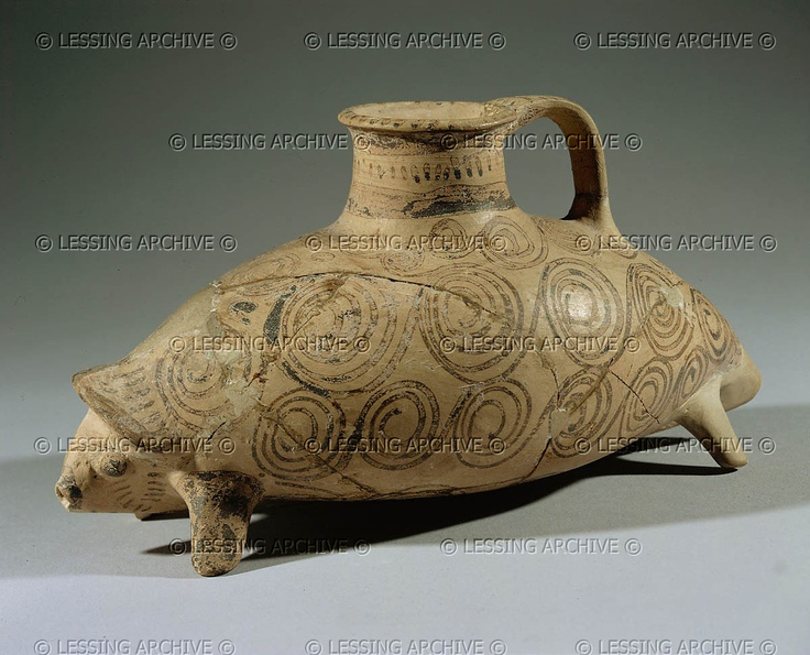 MYCENAEAN VESSEL 2ND-1ST MILL.BCE    Rhyton (drinking vessel) in form of a hedgehog. From the Aegean, found in Ugarit (Ras Shamra),Syria. Late Bronze, 14th-12th BCE Terracotta, H: 12 cm, L: 23,5 cm AO 18573  Louvre, Departement des Antiquites Orientales, Paris, France