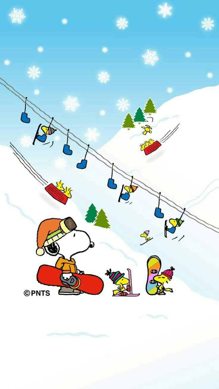 Snoopy, Woodstock and Friends Skiing and Snowboarding on a Mountain