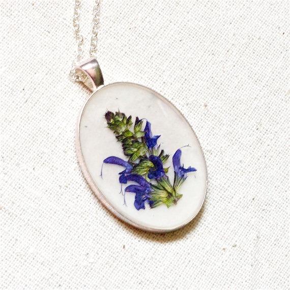 pressed flower necklace lavender blue sprig by StudioBotanica: Lavender Blue, Flower Necklace