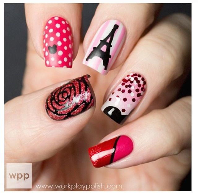 girly nails, pink and black color scheme, I love all of the little details in these nails!