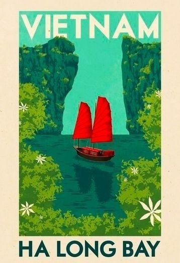 #Vietnam #Vintage #Travel Poster - Ha Long Bay.   TravelPhotoTours.com / TravelBoldly.com /