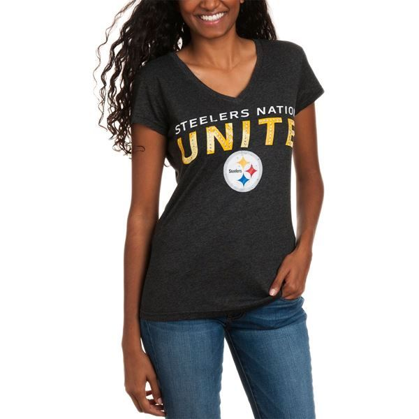 Picture of Steelers Nation Unite (SNU) Women's Touch Embellished V-Neck T-Shirt