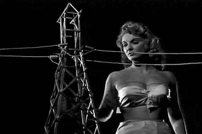 Nancy Archer (actress Allison Hayes) inspects the power lines. Attack of the 50 Ft. Woman (1959)
