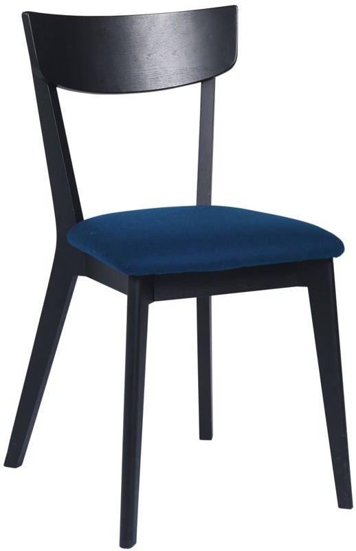 Lima Spisebordsstol - sortbejdset eg - Spisebordsstol i klassisk nordisk look udført i sortbejdset egetræ. Stolen har et filtsæde i petrolium samt en buet stoleryg for ekstra god komfort.