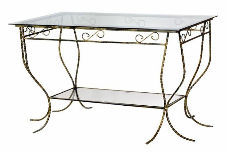 Elegancki, prostokątny szklany stół z półką - Stół jest pięknie zdobiony. Cena 390PLN