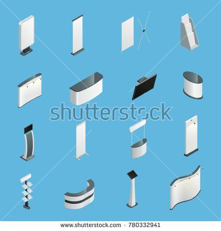 Stock Photo: Exhibition promotion stands set isolated isometric icons illustration
