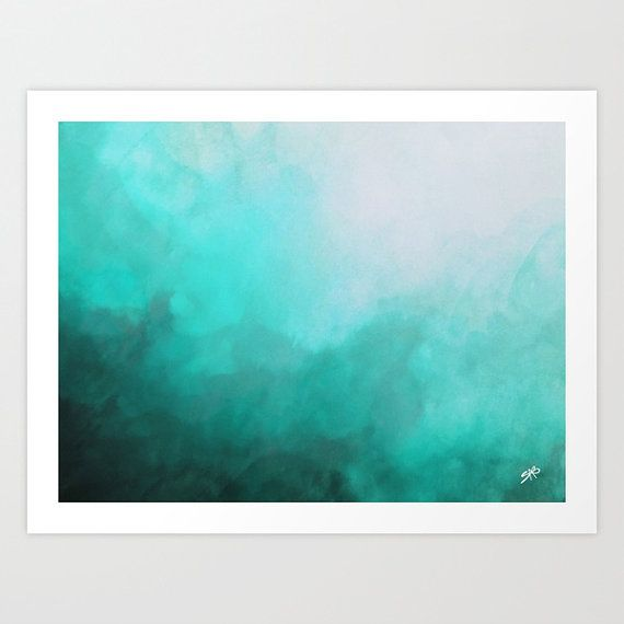 Teal Abstract Watercolor Ocean Inspired Giclee by SABartStudio #teal Aqua Art | Turquoise Decor