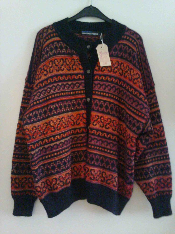 Multicoloured striped cardigan in black, red and gold, 100% acrylic, size 38
