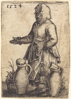 Peasant Woman with Two Jugs, 1524, Barthel Beham | Rosenwald Collection 1943.3.880