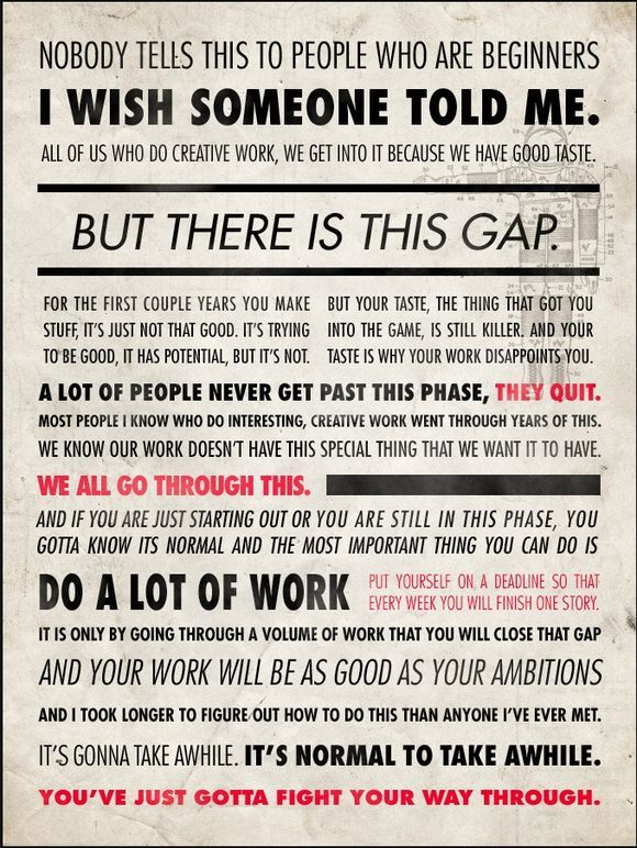 Writing Inspiration: Advice from Ira Glass. Fight your way through the gap.