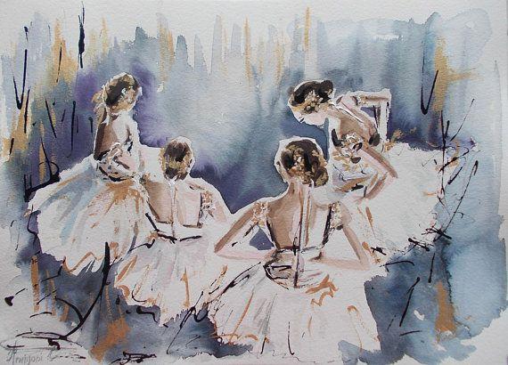 Original ballerina painting,ballerina watercolor,painting,ballet painting,ballet watercolor,ballerina art,wall decor for baby girls room