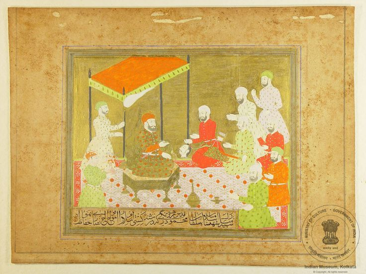 Muhamad Bin Tughluq seated on throne along with courtiers and a warrior offering a head of a human being