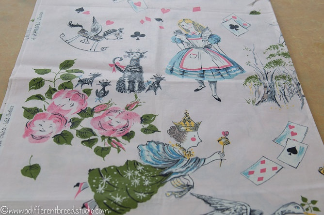 Vintage Alice In Wonderland Fabric 104