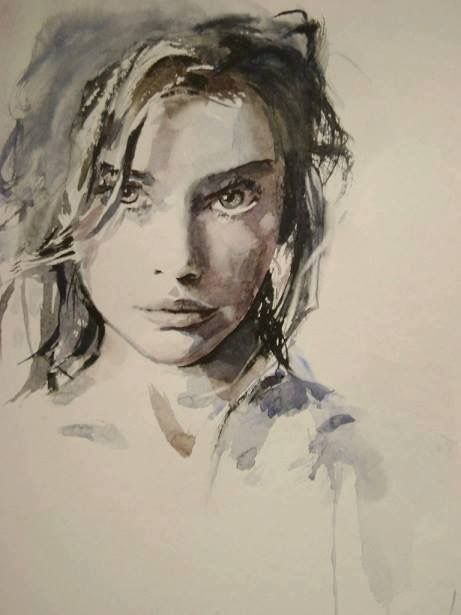 Watercolor portrait of a young woman