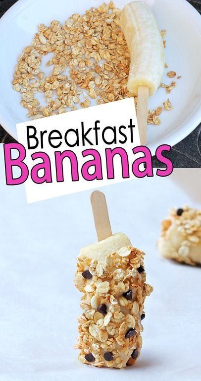 Breakfast Banana Pops. Really easy idea! Kids will love this!