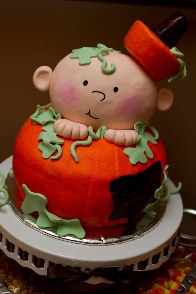 Gender reveal pumpkin party cake!  See more party planning ideas at CatchMyParty.com!