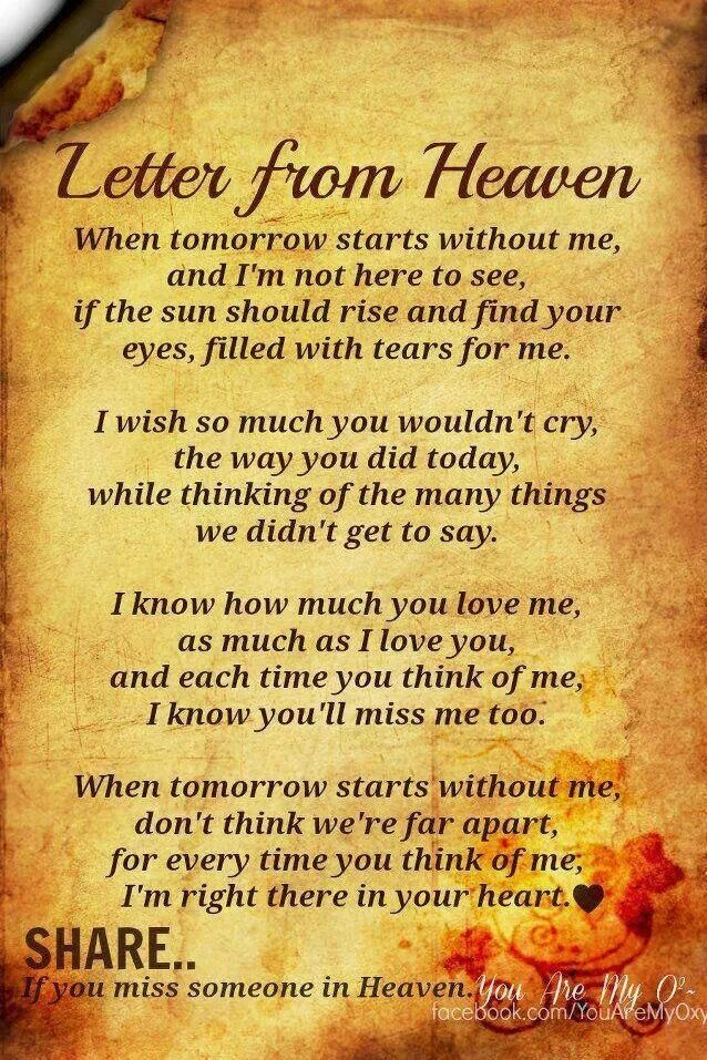 If tomorrow starts without me Miss you papa  My parents