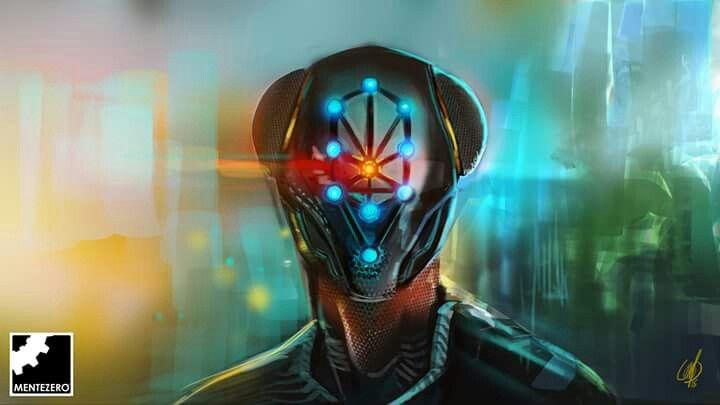 Illustration by Matteo Fossati - MenteZero #character #design #blue #robotic #android #illustration #digital #painting #inspiration #cyber #cyberpunk #future #apocalypse #led #neon#light #mentezero #color #male #metal #amazing #art #draw #drawing #painting #photoshop #dark #atmosphere