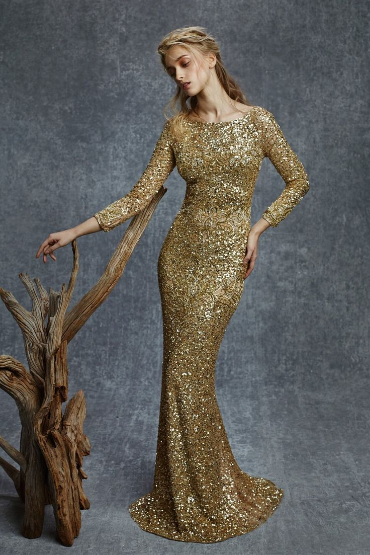 High quality wholesale gold sequin dress long sleeve from china