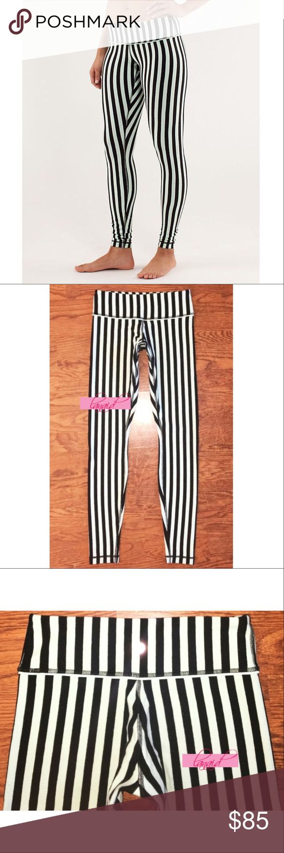 """Lululemon Wunder Under Sea Stripe Mint Vertical 6 📡PRICE IS FIRM AND NON-NEGOTIABLE. NO OFFERS. LOWBALLERS WILL BE BLOCKED. NO TRADES.📡 Lululemon """"Wunder Under"""" yoga pants in Sea Stripe Mint Moment/Black. Fabric blend is made up of a soft, organic stretch cotton and looks to have a """"brushed"""" appearance, which is intentional and not from use. Breathable, four-way stretch. Organic cotton Wunder Unders are not made with size dots, but these are a size 6. lululemon athletica Pants Skinny"""