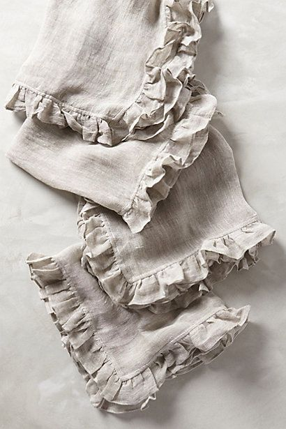 Ruffled Linen Napkins - anthropologie.com to go with my teal plates for brunch with the girls.
