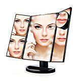 Review for Makeup Mirror Tri-Fold Vanity Lighted Touch Screen with 21 LED, 1X/2X/3X/10X Mag... - Catherine HALLETT  - Blog Booster