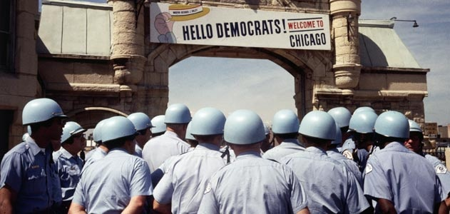 "I'm betting the next episode of Mad Men will have the 1968 Democratic Convention as a subplot. Caption under this pic, ""Inside the convention hall, delegates battled over the Vietnam War and the power of the party establishment. Outside, Chicago police prepared for a parallel battle with antiwar protesters who flooded the city."""