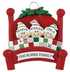 Bed Heads! Personalised Christmas Ornament - Family of 3. Makes a cute, thoughtful and unique gift for Christmas 2016 that can be enjoyed for years to come. WowWee.ie | €13.49