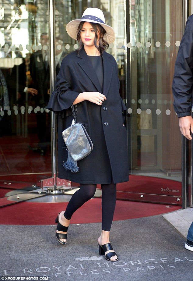 On point: Selena Gomez, 23, was suitably chic as she stepped out on Monday ready for her busy day ahead