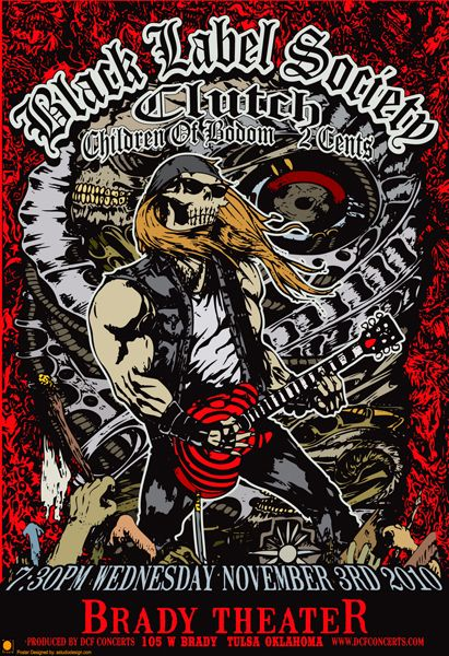Black Label Society - Clutch -  - Classic heavy metal rock music concert psychedelic poster ~ ☮  レ o √ 乇 !!