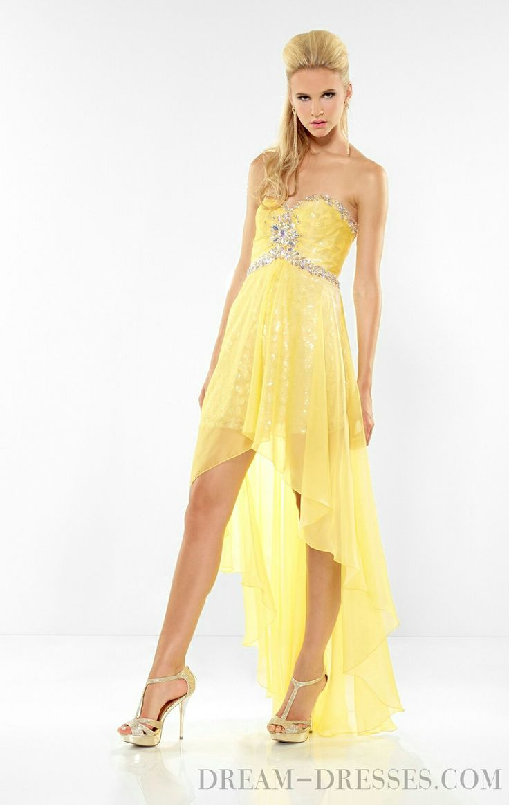 sheath chiffon asymmetric long dress yellow