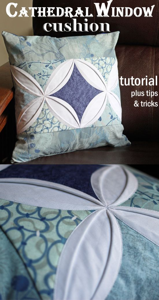 Cathedral window pillow cover.  Oh wow, this is simply fabulous.  I love how the two designs come together to make a central window too.
