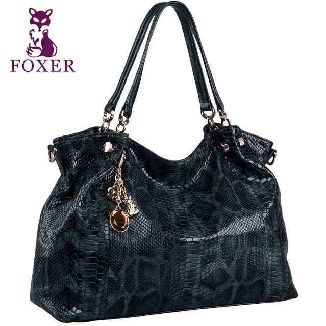 Bolso de las mujeres bolso de cuero genuino de Calidad Superior marcas famosas mujeres bolsos de moda Hombro bolsa de serpentina Verde bolsos de lujo