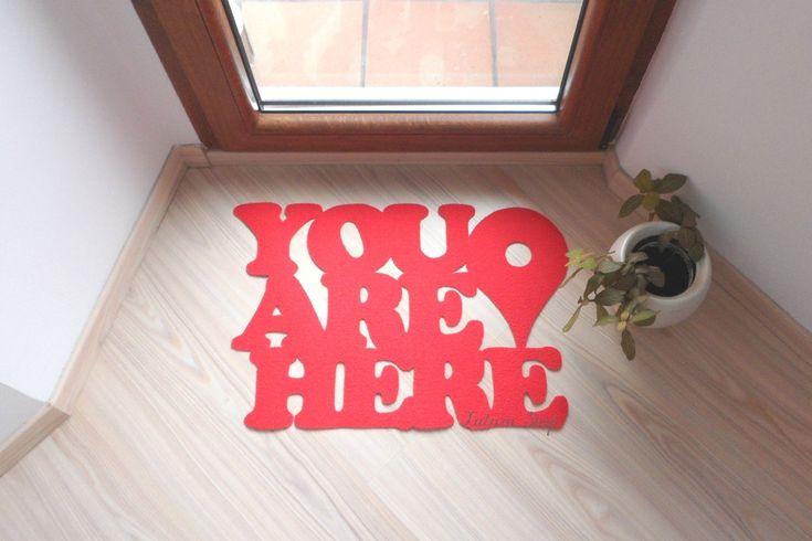 """Doormat """"You are here"""" with Google maps pin. Custom door mat message."""