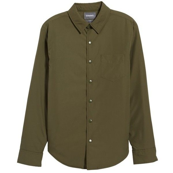 Men's Bonobos Snap Front Shirt Jacket ($198) ❤ liked on Polyvore featuring men's fashion, men's clothing, men's outerwear, men's jackets, olive nylon, mens army green jacket, mens nylon jacket, mens olive green jacket and mens green military jacket