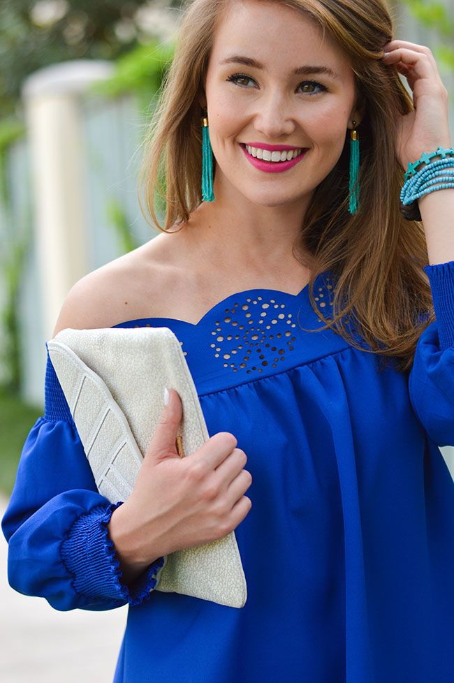 Royal Blue Off the Shoulder Shirt with Turquoise Jewelry