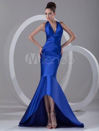 Abendkleid aus Taft in Königsblau - Milanoo.com