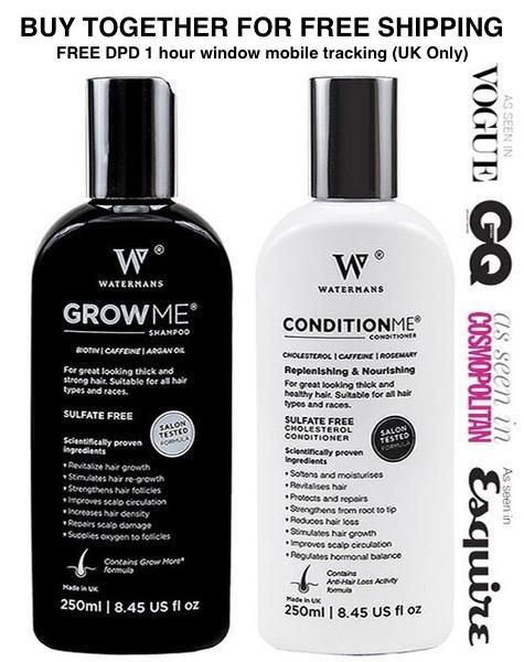 Hair GROWTH Shampoo | Hair GROWTH Conditioner | Total Hair GROWTH Treatment FREE UK SHIPPING Watermans will pay the £4.50 DPD Shipping Charge if you buy together       Buy now and save on ourHair loss shampoo and conditioner More Reviews to read Watermans Shampoo Discount - Grow Me Shampoo Coupon Code - Watermans Shampoo Voucher Codes…