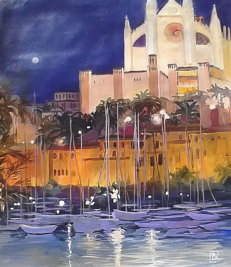 Catedral de Mallorca y palmeras / Cathedral of Majorka and palm trees (pintura al óleo sobre lienzo, oil painting on canvas) de VCraciunPaintings en Etsy