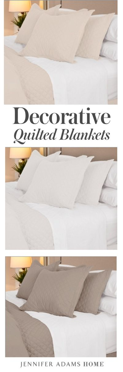 Our neutral quilted blankets make any bed into a completed bed design. Our decorative bedding and luxury duvet covers come in white, taupe, ivory, and light blue. They are comfortable, luxury bedding and duvet covers!