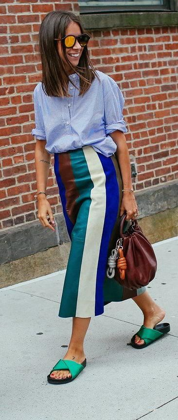 Natasha Goldenberg in a Rachel Comey top, Derek Lam skirt, Céline shoes and with a Loewe bag