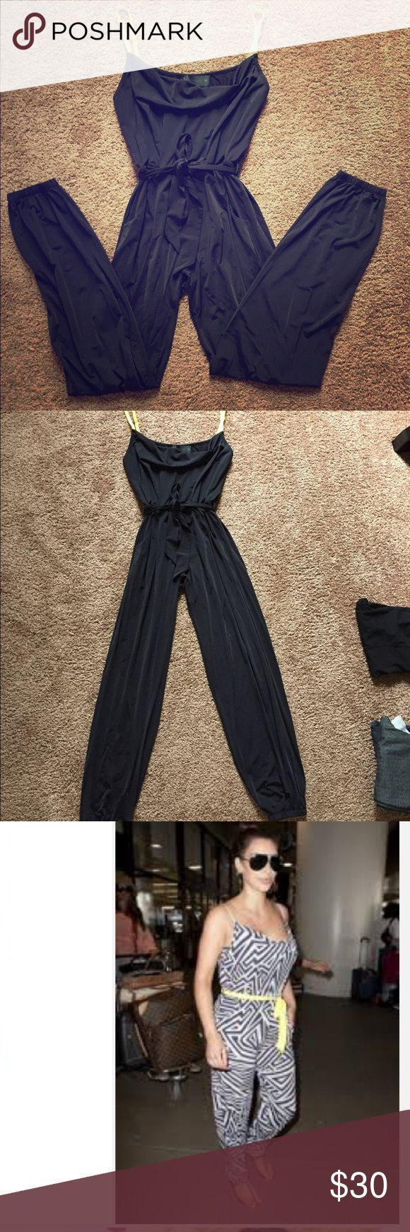 Navy jumpsuit Navy kardashian kollection jumpsuit with bright yellow straps! Super comfy and nice! Kardashian Kollection Other