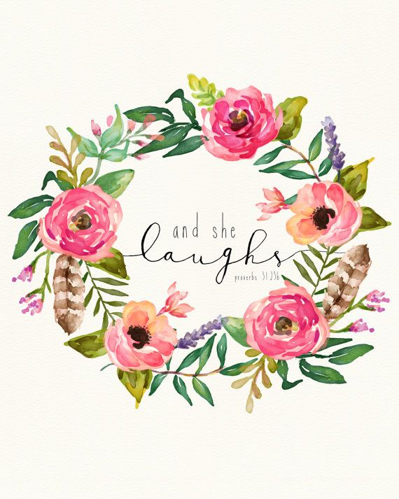 Floral Scripture Art Print  And She Laughs   by matthew18five