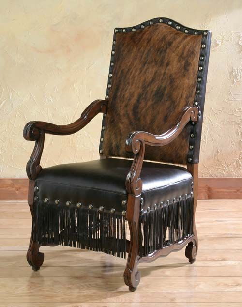 Cabana Fringe Arm Chair Western Accent Chairs   A Full Leather Fringe  Encircles The Seat On