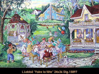 Original oil on canvas painting by Lise Labbé. Available at Le Balcon d'Art, St-Lambert Qc Canada #labbe #artnaif #kidscharacters #backyard #party #springday #playingoutside #canadianartist #quebecartist #originalpainting #balcondart #multiartltee