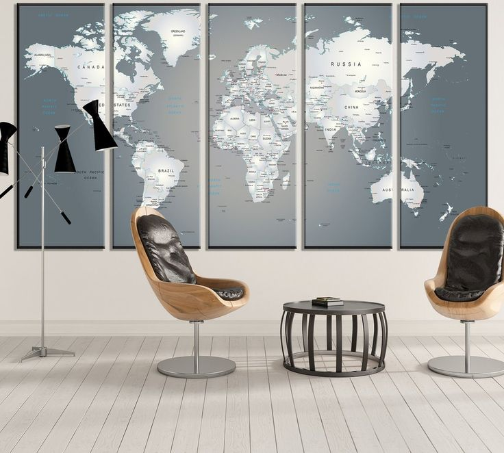 Extra Large World Map 883 Canvas Print